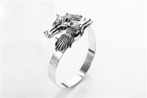 Silver Galloping Horse Bangle