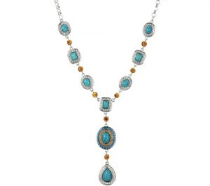 Turqouise Citrine Iced Water Drop Neckklace
